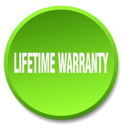 Lifetime warranty green round flat isolated push vector