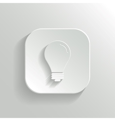 Light bulb icon - white app button vector