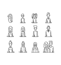Line icons family people avatars kids parents vector