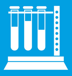 Medical test tubes in holder icon white vector