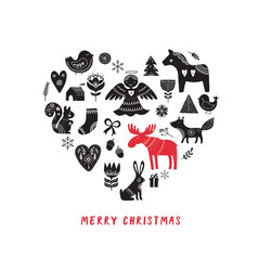 Merry christmas heart-shaped background vector