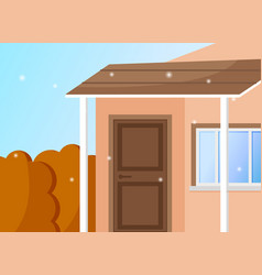 modern rural house with brown door and metal vector image