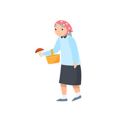 Older woman in blue skirt with wood basket goes vector
