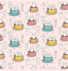 pattern with cute bunnies in the cup vector image