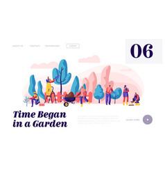 people gardener and farmer work in garden web page vector image