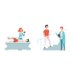 Physical therapy or physiotherapy with therapist vector