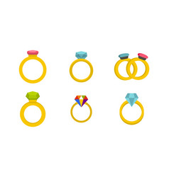 ring icon set flat style vector image