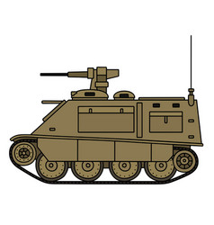 Sand armored tracked vehicle vector