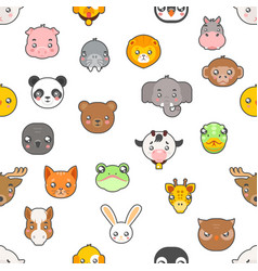 Seamless pattern isolated animals cute baby vector