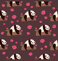 seamless pattern with cute funny pandas vector image