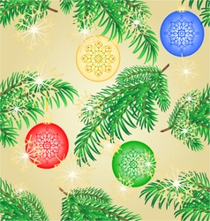 Seamless texture Christmas decoration branch vector image