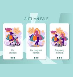 set mobile app pages screen set for autumn vector image