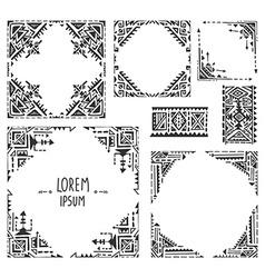 Set of five borders with tribal art boho hand vector image