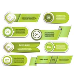 Set of green progress version step icons vector