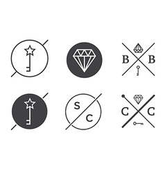Set of Outline Badges or Emblems Abstract Hipster vector