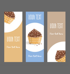 set of vertical narrow banners with cake vector image