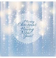 Shiny silver Merry Christmas and Happy New Year vector image