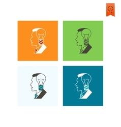 Silhouette of Man with Light Bulb Idea Concept vector image