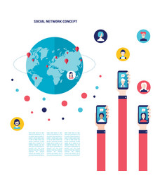social network concept businessman hand with vector image