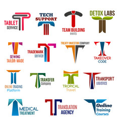 t letter corporate identity business icons vector image