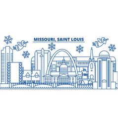 usa missouri saint louis winter city skyline vector image