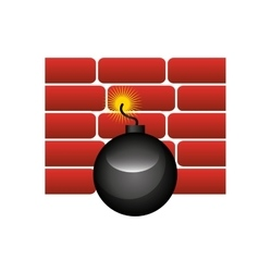 wall bricks isolated icon vector image