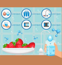 Washing fruit with purified water vector
