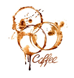 Watercolor emblem with coffee stains vector image