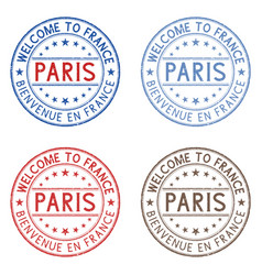 Welcome to paris france colored collection on vector