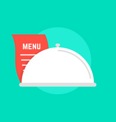 White dish icon with menu vector