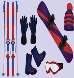 winter sport accessories vector image