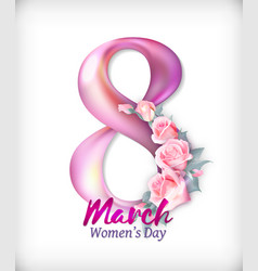 women day background with pink rose flowers 8 vector image