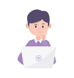 Young man using laptop computer vector
