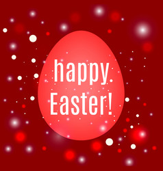 beautiful easter egg on red background with glow vector image vector image