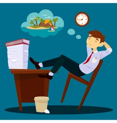 Businessman Dreaming about Vacation vector image vector image