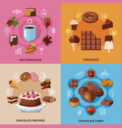 chocolate flat concept vector image vector image