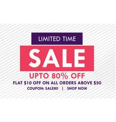flat sale banner design with offer details vector image