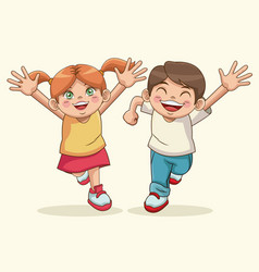 happy children day boy and girl sweet children vector image vector image