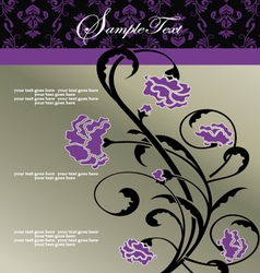 invitation floral card with purple flowers vector image vector image