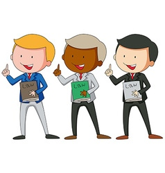 Three men in suit holding law books vector