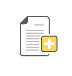 add document file new page plus icon vector image vector image