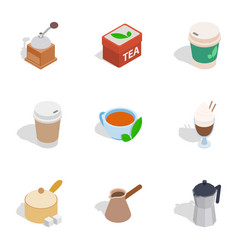 cafe icons isometric 3d style vector image vector image