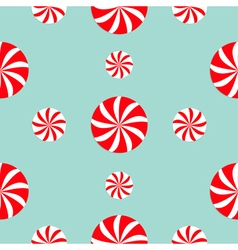 Christmas Round white and red candy sweet set vector image vector image