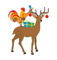 Cock and Christmas reindeer vector image