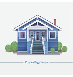 blue cozy cottage house vector image