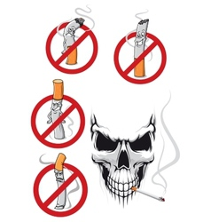Cartooned smoking kills and no smoking concepts vector image vector image