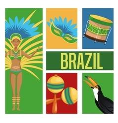 Garota cartoon of brazil and icon set vector
