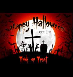 halloween grave on full moon background vector image