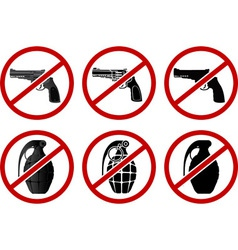 no pistols and grenades vector image vector image