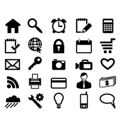 set icons for web design black color vector vector image